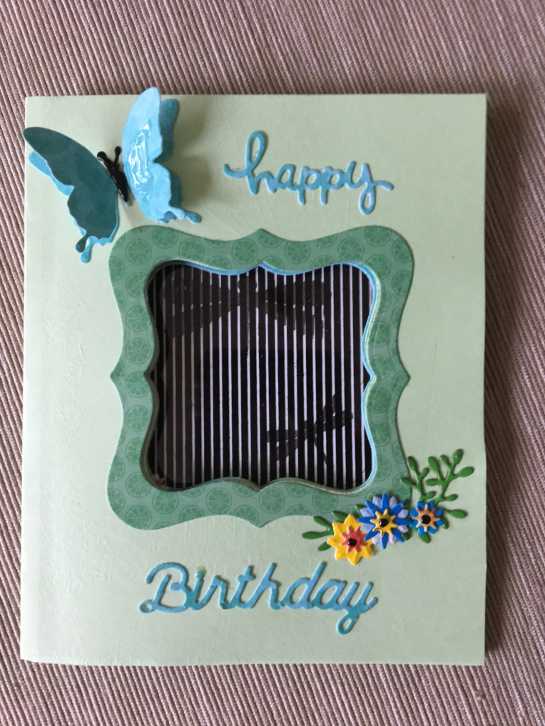 Butterfly time flies card outside